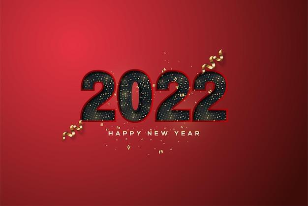 Gelukkig nieuwjaar 2022 met zwarte halftone papercut-nummers