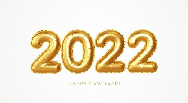 Gelukkig nieuwjaar 2022 metallic goudfolie ballonnen op een witte achtergrond. gouden heliumballonnen nummer 2022 nieuwjaar. ve3ctor afbeelding eps10