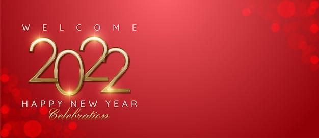 Gelukkig nieuwjaar 2022 nummer gouden ontwerp met tekstruimte geschikt voor banner nieuwjaarsviering