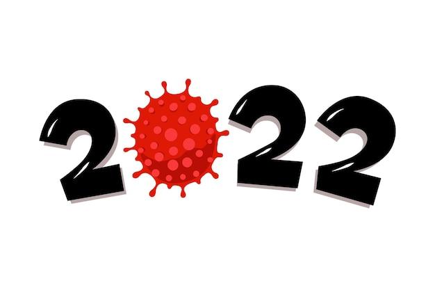 Gelukkig nieuwjaar 2022-nummer met coronavirus covid19-epidemiepictogram