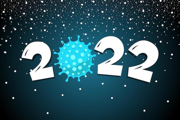 Gelukkig nieuwjaar 2022 nummer met coronavirus covid19 epidemische pictogram op besneeuwde nacht achtergrond