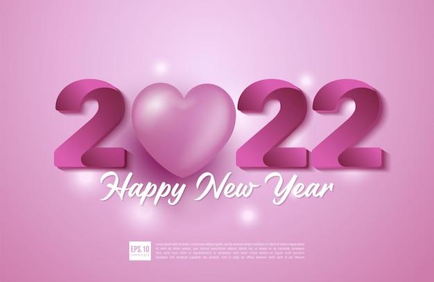 Gelukkig nieuwjaar 2022 ontwerpnummer verloop roze met 3d-harten