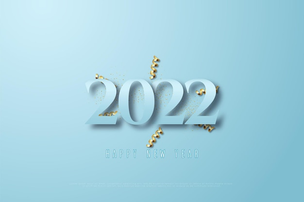 Gelukkig nieuwjaar 2022 op blauwe achtergrond en gouden lint