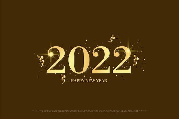Gelukkig nieuwjaar 2022 op bruine achtergrond met gouden glitter en gouden lint