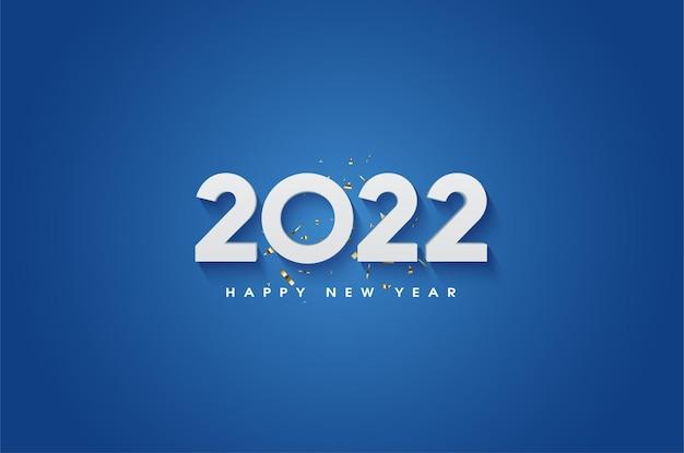 Gelukkig nieuwjaar 2022 op een blauwe achtergrond