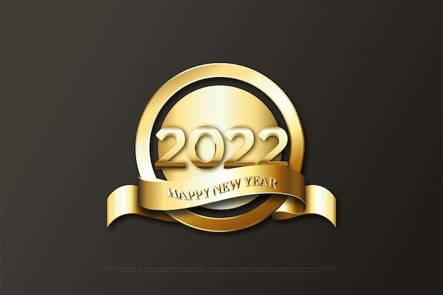 Gelukkig nieuwjaar 2022 op gouden cirkelachtergrond en gouden lint onder cirkel