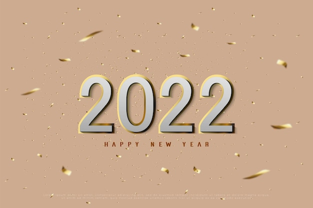 Gelukkig nieuwjaar 2022 op gouden lint gesneden achtergrond