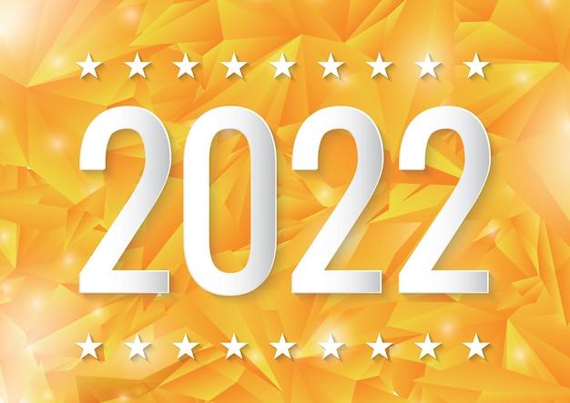 Gelukkig nieuwjaar 2022 papier gesneden kaart op geometrische gele achtergrond