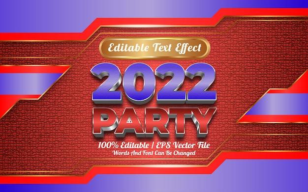 Gelukkig nieuwjaar 2022 partij bewerkbaar teksteffect