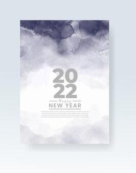 Gelukkig nieuwjaar 2022 poster of kaartsjabloon met aquarel wash splash