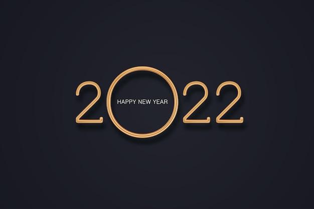 Gelukkig nieuwjaar 2022 realistisch goud metaal op de achtergrond vector