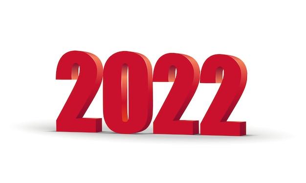 Gelukkig nieuwjaar 2022 rode 3d-nummers geïsoleerd op transparante achtergrond