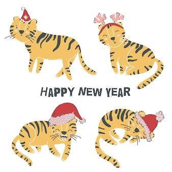 Gelukkig nieuwjaar 2022 set van kleine schattige tijgers symbool van chinees nieuwjaar platte scandinavische stijl