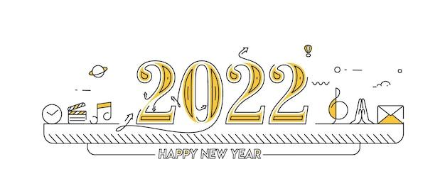 Gelukkig nieuwjaar 2022 tekst typografie ontwerp muziek element, vectorillustratie.