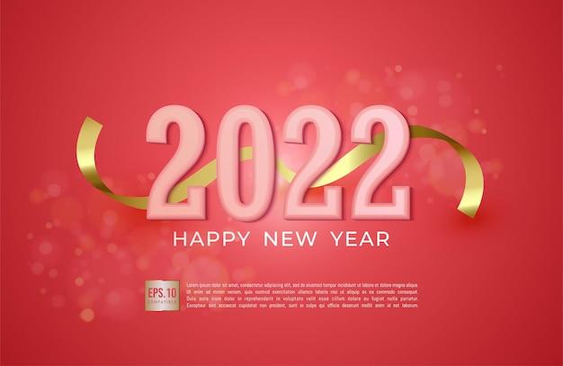 Gelukkig nieuwjaar 2022 tekst typografie ontwerp op roze vectorillustratie