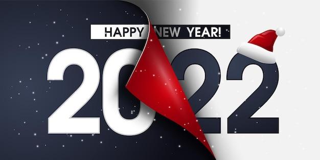 Gelukkig nieuwjaar 2022 tekstontwerp. 2022 brief voor brochure ontwerpsjabloon, kaart met een gebogen rand, banner geïsoleerd op witte achtergrond