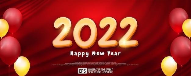 Gelukkig nieuwjaar 2022 vakantie wenskaart modern design op rode achtergrond