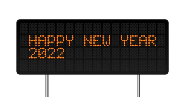 Gelukkig nieuwjaar 2022 vectorillustratie. led digitale alfabet stijl tekst met gloeiende stippen. abstract begrip grafisch element
