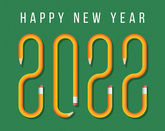 Gelukkig nieuwjaar 2022 wenskaart met tekst gevormd door geel potlood. vectorpotloodlettertype op een groene schoolbordachtergrond