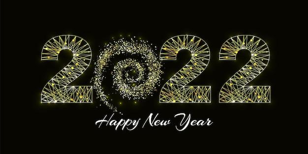 Gelukkig nieuwjaar 2022 wenskaart. ontwerp in lage polystijl. getallen uit een veelhoekig draadframe mesh. abstracte vectorillustratie op donkere achtergrond.