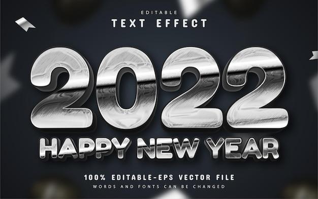Gelukkig nieuwjaar 2022 zilver 3d-teksteffect bewerkbaar
