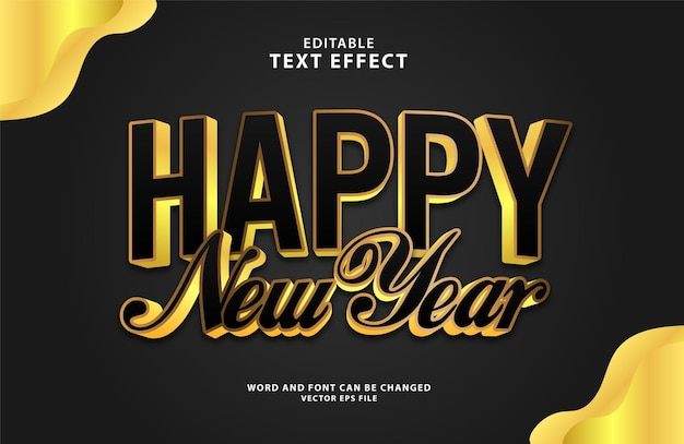 Gelukkig nieuwjaar 3d bewerkbaar goud eps teksteffect
