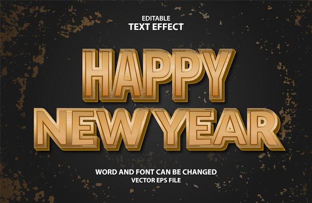Gelukkig nieuwjaar 3d bewerkbare eps vector teksteffect