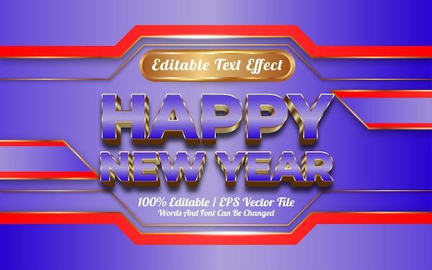 Gelukkig nieuwjaar 3d bewerkbare teksteffect gouden stijl