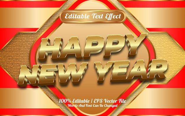 Gelukkig nieuwjaar 3d gouden bewerkbare teksteffectsjabloonstijl