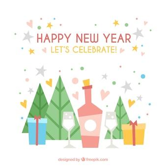 Gelukkig nieuwjaar achtergrond met geschenken