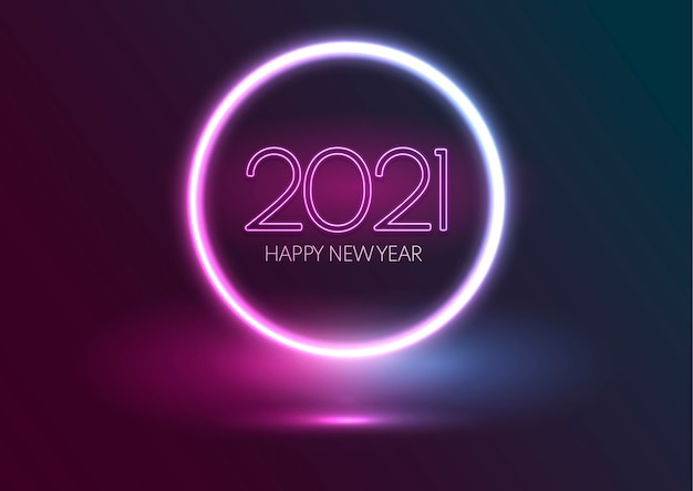 Gelukkig nieuwjaar achtergrond met gloeiend neon ontwerp