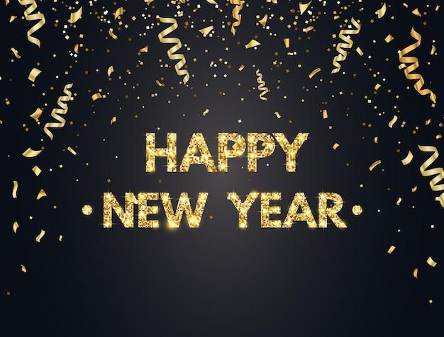 Gelukkig nieuwjaar achtergrond met gouden confetti.