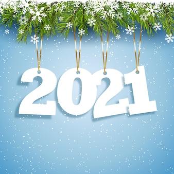 Gelukkig nieuwjaar achtergrond met hangende nummers ontwerp