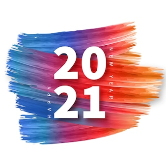 Gelukkig nieuwjaar achtergrond met kleurrijke penseelstreek frame Gratis Vector