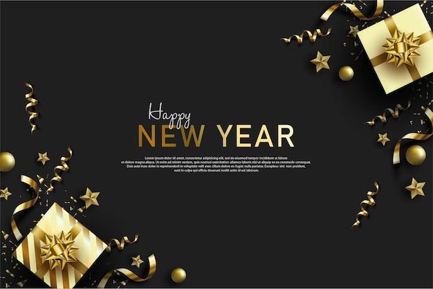 Gelukkig nieuwjaar achtergrond met realistische geschenkdoos