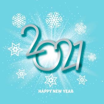 Gelukkig nieuwjaar achtergrond met starburst en sneeuwvlok ontwerp