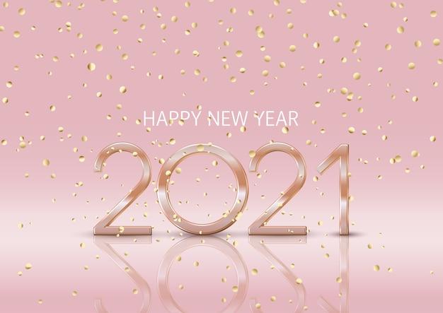 Gelukkig nieuwjaar achtergrond met vallende gouden confetti
