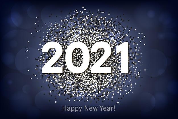 Gelukkig nieuwjaar achtergrond met veelkleurige glitter en confetti.