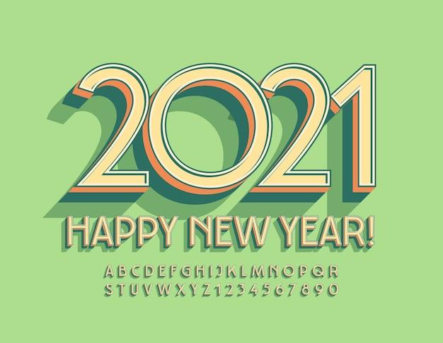 Gelukkig nieuwjaar! art deco-stijl lettertype. vintage isometrische alfabetletters en cijfers ingesteld