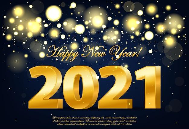 Gelukkig nieuwjaar banner met gouden luxe lichten. realistische gouden cijfers. nieuwjaar ornament. decoratie-element met klatergoud