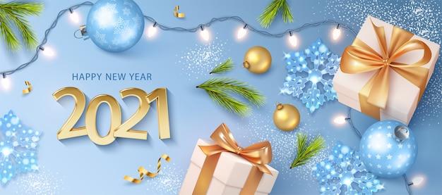 Gelukkig nieuwjaar banner met realistische gouden cijfers