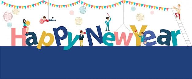 Gelukkig nieuwjaar banner met stripfiguur vlakke stijl.