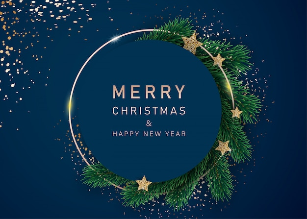Gelukkig nieuwjaar banner met versierde sterren en dennentakken. met frames van sneeuw op een blauwe achtergrond. feestelijk headerontwerp voor uw website.