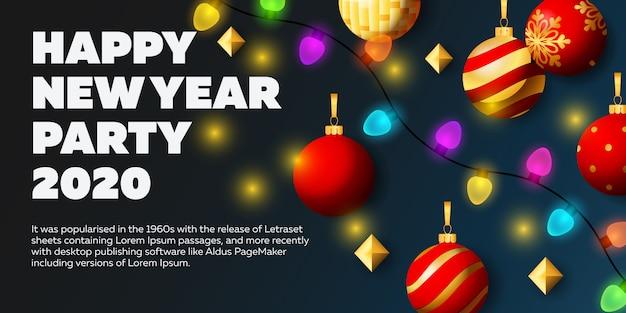 Gelukkig nieuwjaar bannerontwerp met kleurrijke lichten