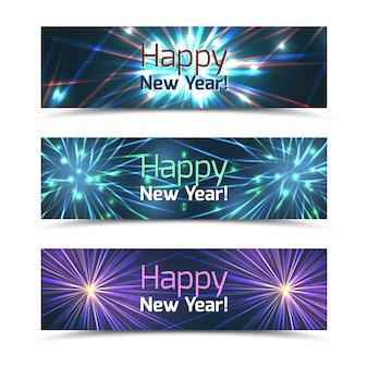 Gelukkig nieuwjaar banners set met vuurwerk. viering en festival, wenskaart voor evenement, vectorillustratie