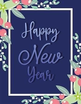 Gelukkig nieuwjaar, belettering bloem frame, feest, bloemdessin voor kaart