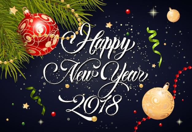 Gelukkig nieuwjaar belettering en kerstballen