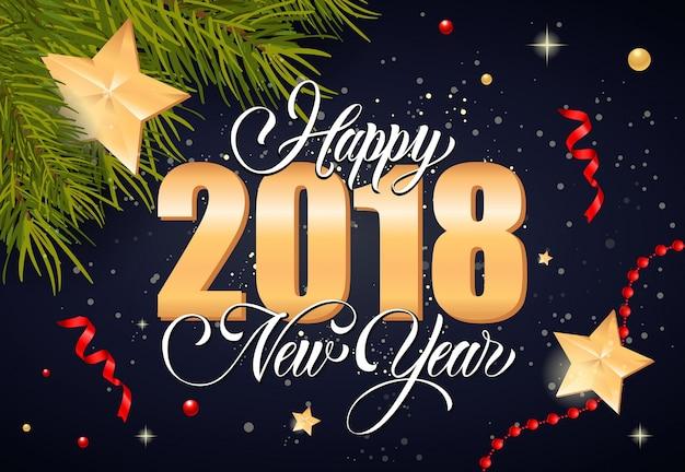 Gelukkig nieuwjaar belettering en sterren