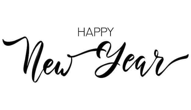Gelukkig nieuwjaar belettering hand getrokken ontwerpelement. happy holidays handgeschreven wenskaart. kalligrafische groeten sjabloon. vector illustratie