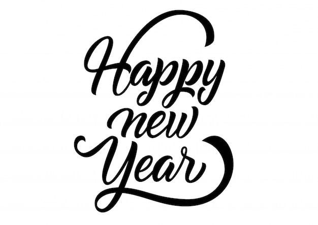 Gelukkig nieuwjaar belettering. handgeschreven inscriptie met wervelingen